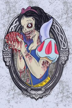 Funny pictures about Zombie Princesses. Oh, and cool pics about Zombie Princesses. Also, Zombie Princesses photos. Disney Horror, Evil Disney, Zombie Disney, Dark Disney, Arte Horror, Horror Art, Disney Stars, Twisted Disney Princesses, Zombie Princess