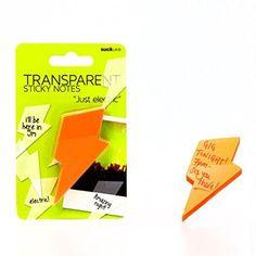 SUCK UK Notes Adhésives Transparentes – Éclairs Oranges