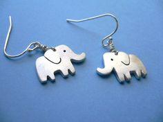 Silver Elephant Earrings  simple artisan jewelry  by StudioRhino, $24.00