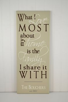 What I Love Most About My Home Wood Quote Sign by CRSWoodDesigns, $46.00