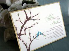 Wedding Invitation  Cherry Blossom Branch and Bird by AnaStella
