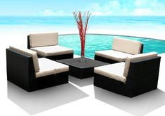 Special Price Sale Off Outdoor Patio Furniture Wicker Sofa Sectional Resin Couch Set - Weather Proof Espresso 5 Pc Wicker Modula. Resin Wicker Furniture, Outdoor Wicker Furniture, Backyard Furniture, Wicker Sofa, Sofa Furniture, Backyard Projects, Rustic Furniture, Antique Furniture, Outdoor Rocking Chairs