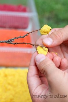 Fall Centerpiece Craft for Kids ~ Simple craft and sensory experience rolled into one.  This is not your traditional tissue paper craft.  Ch...