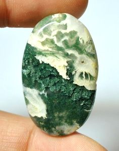 Natural Moss Agate Cabochon Oval  36.9 x 22.7 x 7.4 mm by AliveGems, $7.00