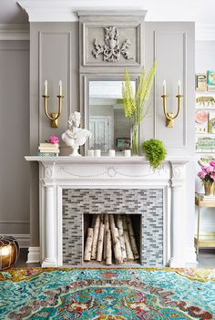 decorative crown molding white grey fireplace rug