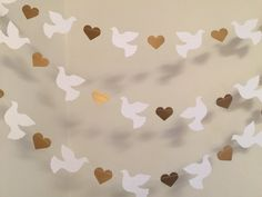 Christening Garland - Gold & White Dove Baptism decorations - Wedding Garland - Religious Baby Dedication Decor - Your Color choice from anyoccasionbanners Decoration Communion, Baptism Party Decorations, Backdrop Decorations, Heart Decorations, Valentines Day Decorations, Wedding Doves, Wedding Card, Candy Bar Wedding, Baby Dedication