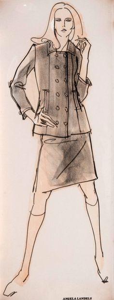 Fashion illustration by Angela Landels (b. 1935), 1960's, Liberty London, collage, felt tip & charcoal. (UK)