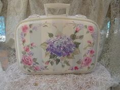 How to Paint Hydrangea Roses Bridal Traincase Suitcase Lesson on CD E103
