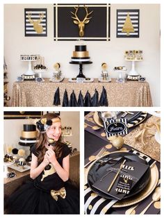 Planning a holiday party? We love this black and gold modern holiday party idea.