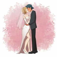 Commission for DELETEDCoreyPeters The wedding kiss of Amourshipping is here I've never draw a kissing scene before so working on this o. (Comm) Ash and Serena's Wedding Kiss Pokemon Ash Ketchum, Ash Pokemon, Pokemon Ships, Pokemon Comics, Pokemon Fan, Pokemon Eevee, Pokemon Fusion, Pokemon Cards, Ash Y Misty