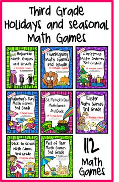 Math games for Third grade for holidays - 112 games for Halloween, Christmas, Thanksgiving, Valentine's, St. Patricks, Easter, Back to School and End of Year! $