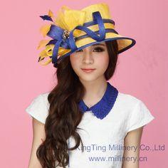 Envío gratis las nuevas mujeres de la flor del sombrero sombrero Sinamay  Sinamay plumas de dos tonos de colores mujeres ala ancha visten 2014 en  Sombreros ... 66a10e2b80c