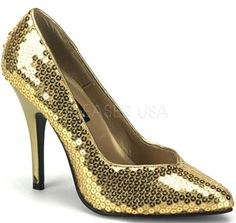 """5"""" Classic Pump High Heels with Gold Sequins"""