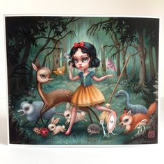 Snow White in the Black Forest - Limited Edition signed numbered 12x10 pop surrealism lowbrow Fine Art Print by Mab Graves -unframed