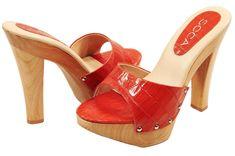 women high heel slide | Womens Soca Gina High Heel Wood Platform Slides Red | eBay