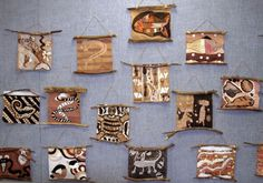 Aboriginal Australian bark painting....love the way these are hung! by Kay Anne