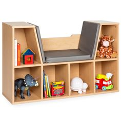 Best Choice Products Multi Purpose 6 Cubby Kids Bedroom Storage Organizer Bookcase W/ Cushioned Reading Nook Brown Shelf Furniture, Accent Furniture, Kids Furniture, Compact Furniture, Brown Furniture, Kids Bedroom Storage, Shelves In Bedroom, Bedroom Kids, Kids Rooms