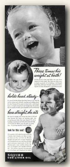 Vintage Beauty and Hygiene Ads of the (Page Cod Liver Oil, Cute Baby Pictures, Vintage Beauty, 1940s, Cute Babies, Image Search, Childhood, Ads, Retro