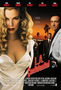 Directed by Curtis Hanson. Based on L. Confidential by James Ellroy Narrated by Danny DeVito, starring Kevin Spacey, Russell Crowe, Guy Pearce, Kim Basinger and Danny DeVito. Guy Pearce, Kim Basinger, Danny Devito, Love Movie, Movie Tv, Perfect Movie, Cinema Paradisio, Vicky Krieps, La Confidential