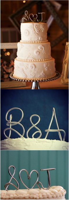 "Sweet, simple and classy, this customized wedding topper is a great way to accent your cake in style! Featuring the bride and groom's initials, separated by a heart or ""&"", the topper will be created with a base to make it free-standing. 