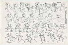 Disney RESCUERS DOWN UNDER 114 Production Photocopies of Model Sheets, Drawings, Storyboard, Frame by Frame