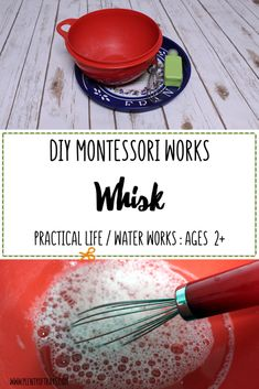 DIY Whisk - Plenty of Trays Montessori using a whisk work tray<br> Starting as young as 2 years old, you can teach your child how to use a whisk with this simple Montessori DIY water works tray. Montessori Trays, Montessori Science, Montessori Practical Life, Montessori Homeschool, Montessori Classroom, Montessori Toddler, Montessori Materials, Homeschooling, Montessori Bedroom