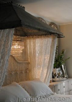 LaurieAnnas Vintage Home: Bedroom Makeover at 5th Place Cottage--look at this hood and the lace! Oh my!