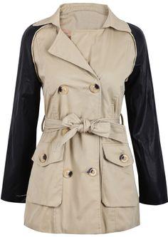 Khaki Contrast PU Leather Long Sleeve Belt Coat US$39.34