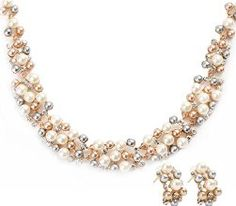 EVBEA Wedding Jewelry Sets Vintage Bridal Gold Tone Chunky Multi Color Faux Pearl Cluster Necklace Stud Earrings