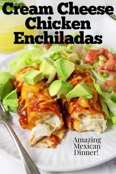 Make these amazing Cream Cheese Chicken Enchiladas for dinner tonight! They are easy to make and make a great Mexican Dinner! Mexican Entrees, Mexican Food Recipes, Dinner Recipes, Dinner Ideas, Drink Recipes, Meal Ideas, Easy Enchilada Recipe, Enchilada Casserole, Chicken Recipes