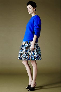 Jonathan Saunders chunky sweater and printed skirts
