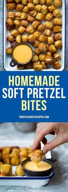 Homemade Soft Pretzel Bites are easy to make at home and the perfect snack for parties! Kids and adults love these delicious soft pretzels. #pretzels #snack #appetizers