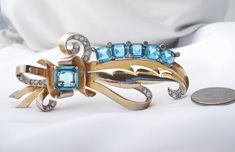 Outstanding Vintage Mazer Brooch - Gold Plated Sterling Silver, Aquamarine Crystal, Diamond Rhinestones