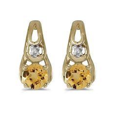 14k Yellow gold November Birthstone Round Citrine And Diamond Earrings