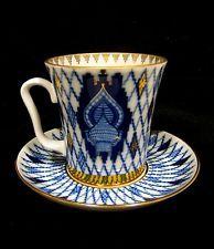 "LOMONOSOV RUSSIAN ""KIZHI"" COBALT BLUE NET 22K GOLD LARGE COFFEE/TEA CUP & SAUCER"