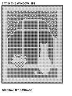 ". Filet Crochet Cat In the Window Pattern afghan doilyFrom dasmade ""CAT IN THE WINDOW"" FILET CROCHET DOILY, MAT OR AFGHAN PATTERN.:"