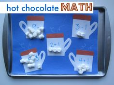 hot chocolate math tray for preschool or kindergarten math center.