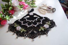 Crinoline Lady Crochet Doily with Glass Beads