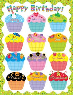 Birthday Calendar Beautiful Wishes Template Happy Birthday Cupcakes, 25th Birthday, Birthday Month, Birthday List, Birthday Calendar Classroom, Birthday Bulletin Boards, Birthday Board, Birthday Charts, Birthday Template