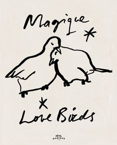 MAGIQUE LOVE BIRDS by Milou Neelen - Magique Love Birds, an art print by Hôtel Magique designed exclusively for Artfully Walls. Feathers, love and magique. Heart Art, Art Sketchbook, Bird Art, Love Birds, Line Drawing, Boho Decor, Illustration Art, Food Illustrations, Art Drawings