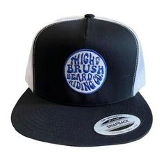 THIGHBRUSH BEARD RIDING COMPANY  Trucker Snapback Hat  Black and White  Flat Bill  Blue Logo