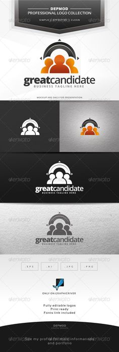 Great Candidate Logo ...  brand, branding, business, candidate, communication, employee, human, humans, identity, man, meeting, network, networking, people, print, share, sharing, silhouette, social, solutions, three, vectors, web, woman, worker