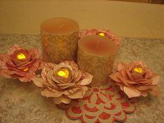 Cricut Mother's Day Decor. Paper Flower Candles. Flower Shoppe Cartridge