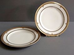 Limoges White Luncheon Plates Gold Rims & Motif by GentlyKept