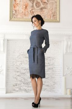 Grey pencil dress with lace inset hem