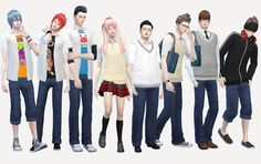 [School uniform set for male]DOWNLOAD/MediaFirefor male/original mesh by EA/remesh by me category: *school knit vest &school open shirts is RING:index-finger(left) *school pants...