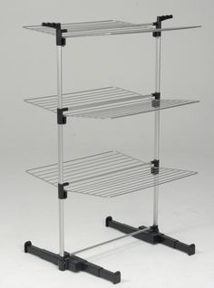 Metaltex Ciclone 3 Tier Double Sided Airer An airer for when space is limited. This airer is tall, rather than wide and heaps of drying space. Extendable telescopic feet offer greater stability. Open one side or both (Only 40cm wide when one side is closed). Product Code: ZLS2091. Available from Howards Storage World.