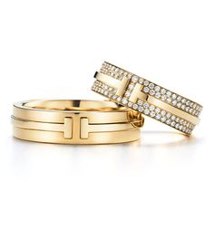 Bagues T for Two en or jaune et diamants de Tiffany & Co.