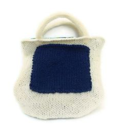 Small Cream Knitted Tote with Blue Animal Print by stinkRknits, $30.00