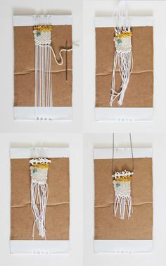 These  woven necklaces are so popular right now! From http://sayyes.com/2014/07/diy-woven-necklace.html